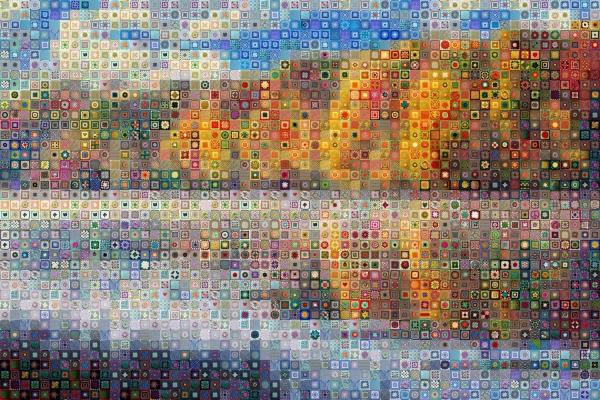 landscape reflection crochet granny square art