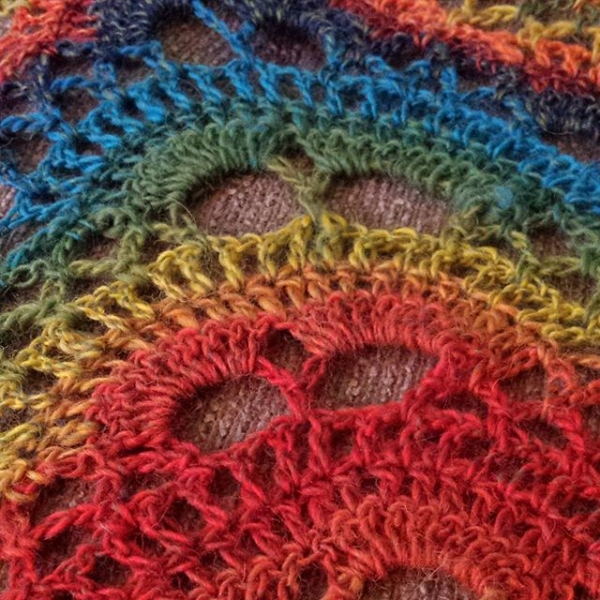 mosaicwench rainbow crochet shawl