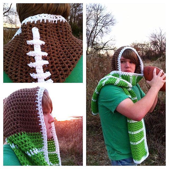 oliviartcreations crochet football scarf