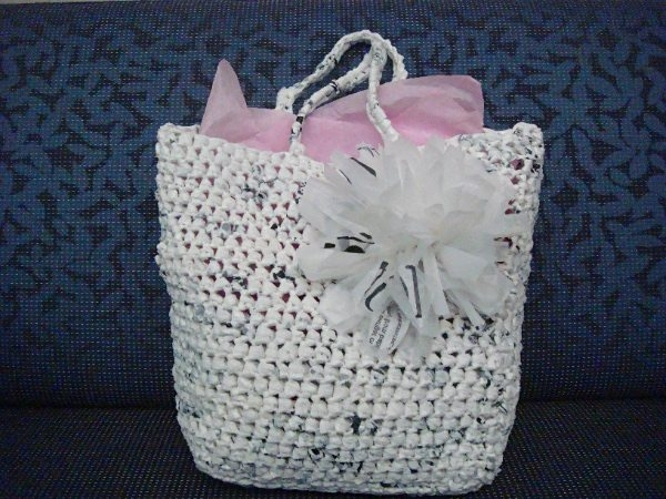 plarn gift bag flower pattern