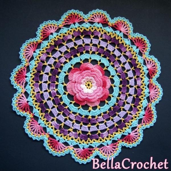 rose gehaakte mandala gratis patroon