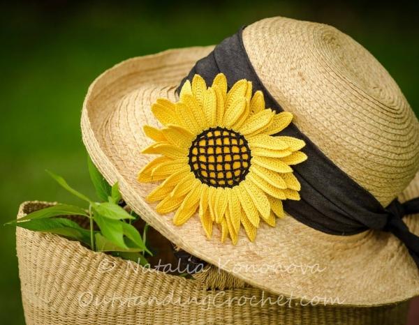 zonnebloem broche haakpatroon