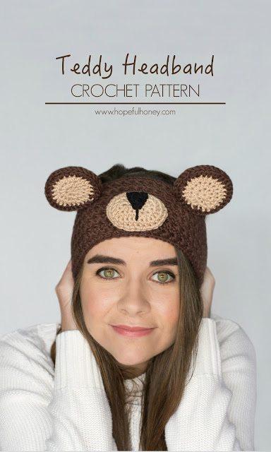 teddybeer hoofdband haakpatroon