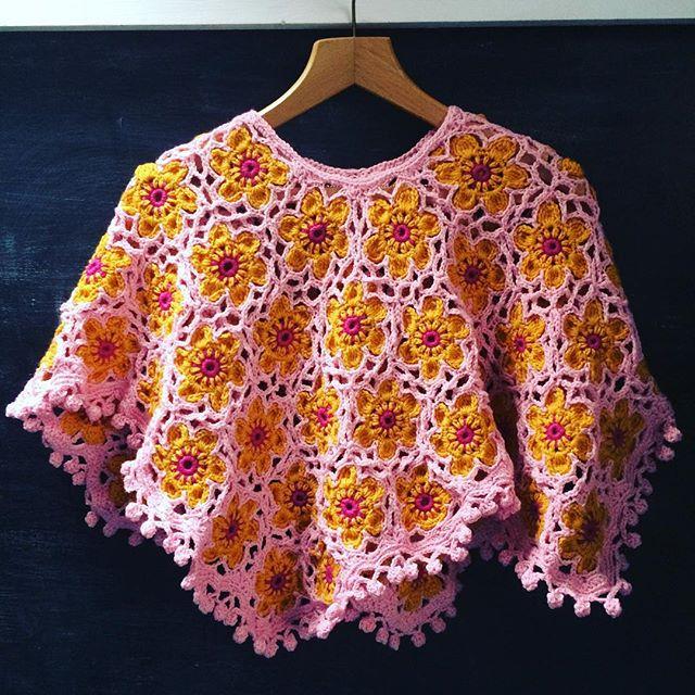 themercerie crochet flower poncho