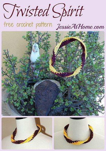 twisted spirit crochet necklace free pattern