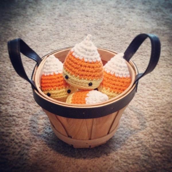 basket of crochet candy corn