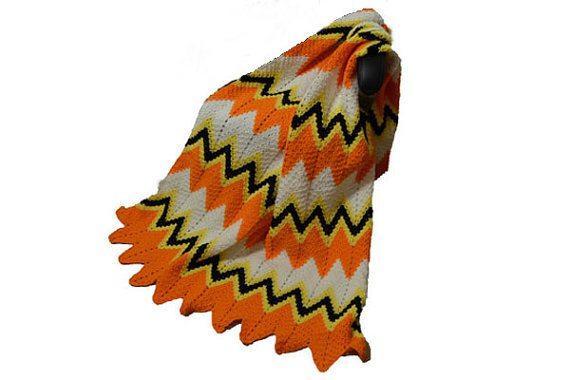 candy corn chevron crochet blanket