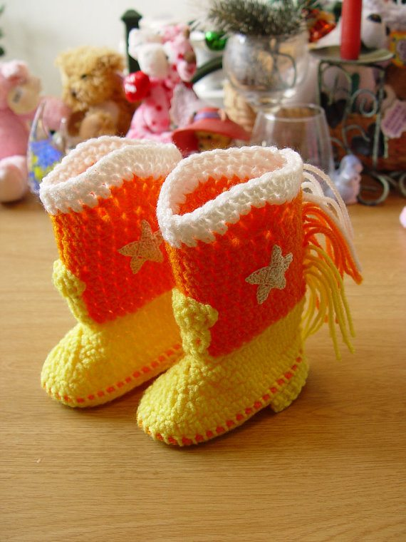 candy corn crochet cowboy boots