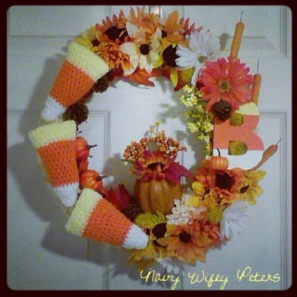 candy corn crochet fall wreath