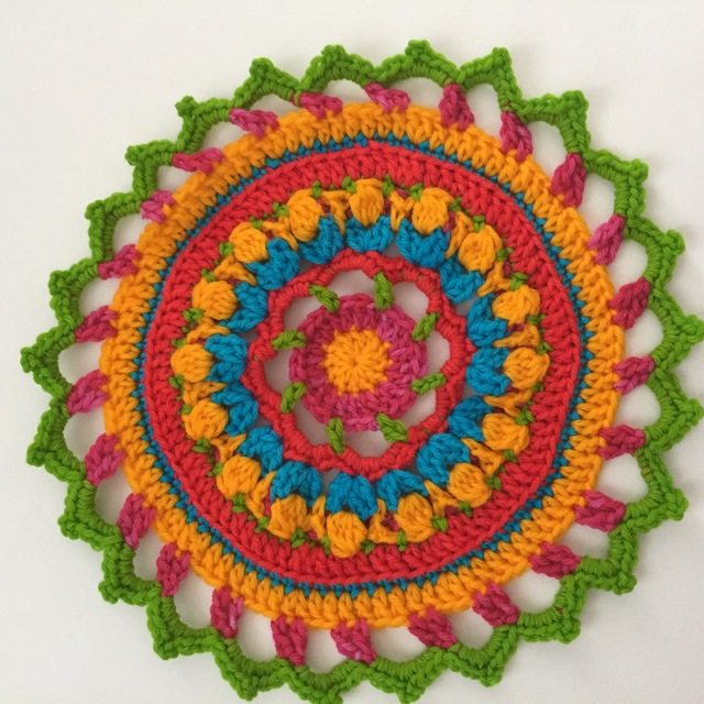 colorful crochet mandala by annie