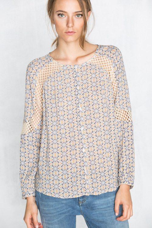 cortefiel crochet arm shirt