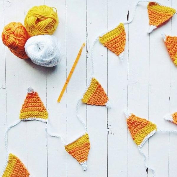 crochet candy corn bunting