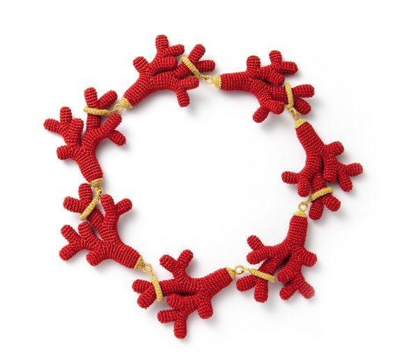 crochet coral necklace by felieke van der leest
