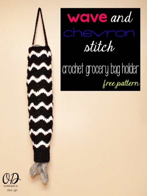 Wave and chevron stitch free crochet grocery bag holder pattern from Oombawka Design