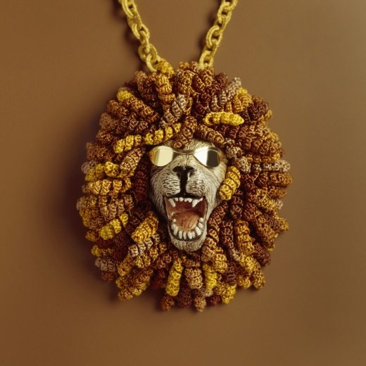 crochet lion necklace by felieke van der leest