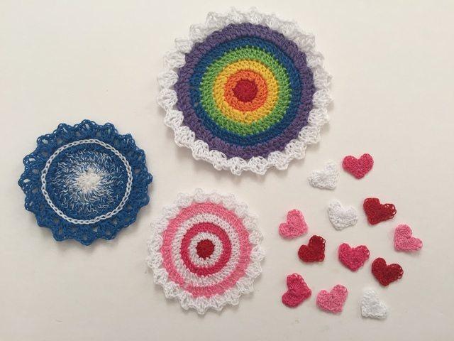 crochet mandalas and hearts by pamela