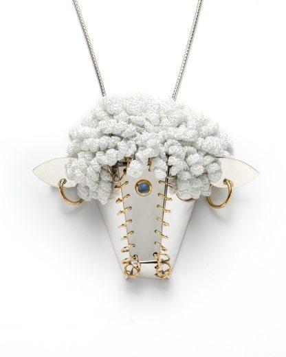 crochet necklace art by felieke van der leest
