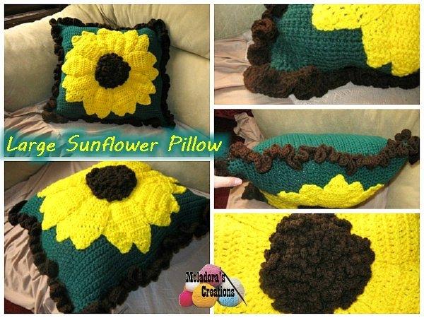 Haak zonnebloem pillow pattern