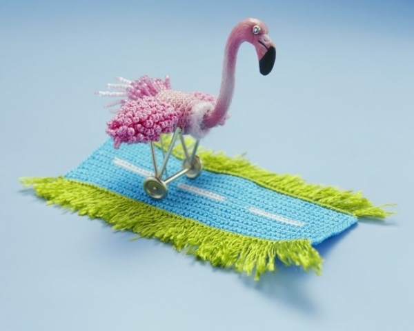 flamingo crochet art