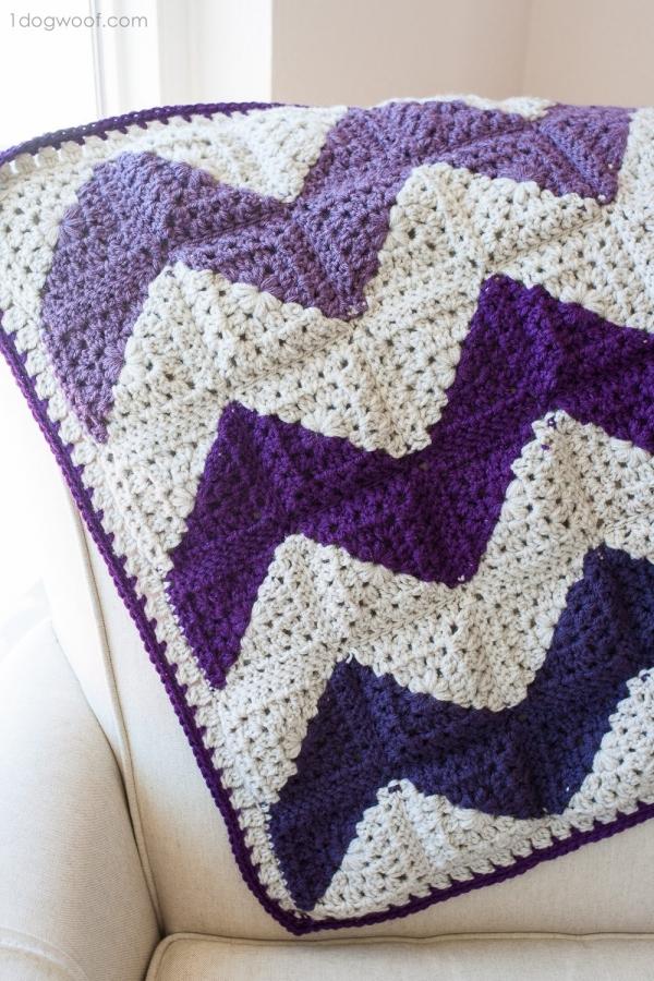granny squares chevron crochet blanket free pattern