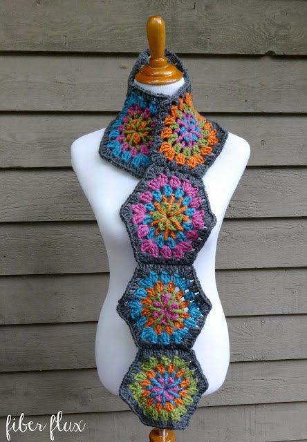 zeshoek sjaal gratis haakpatroon
