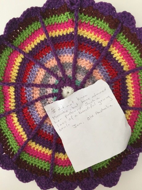 jan crochet mandala with note