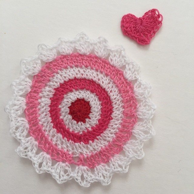 pink crochet mini mandala by pamela