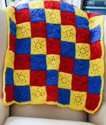 primary colors crochet blanket free pattern