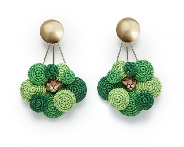 puma crochet earrings by felieke van der leest