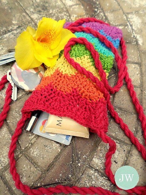 regenboog chevron haak purse pattern