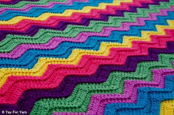 rainbow ridge afghan free crochet pattern