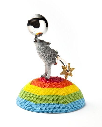 rainbow wolf crochet art by v