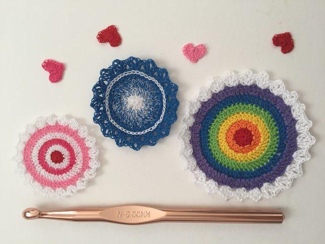 thread crochet mandalas with mini hearts by pamela