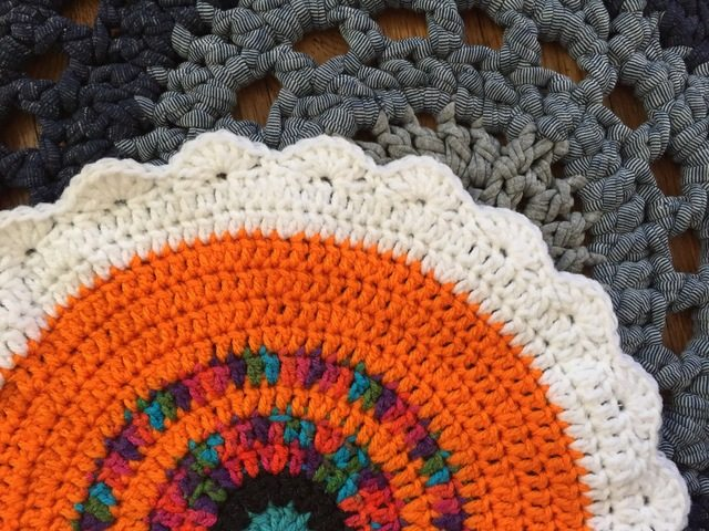 anne crochet mandala on denim rug