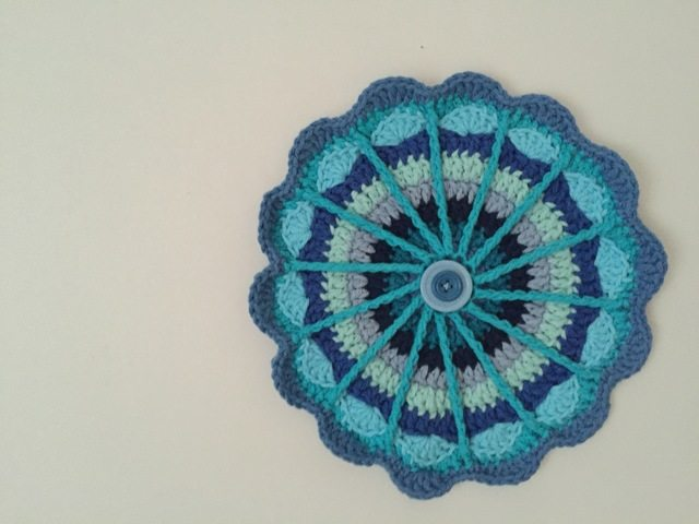 blue crochet mandala by cayty