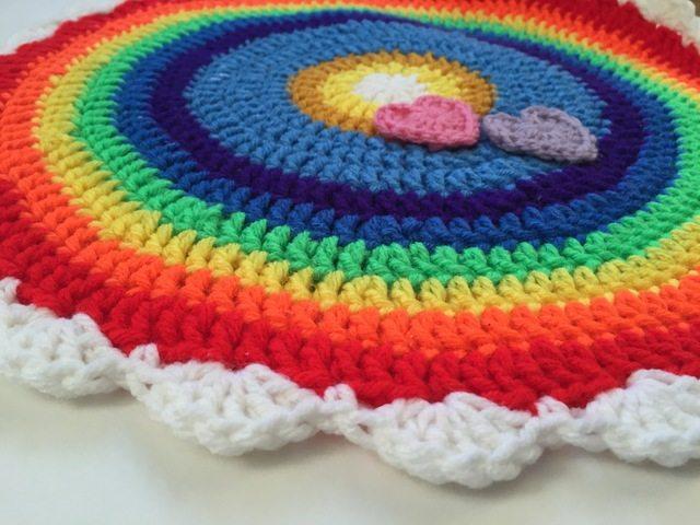 crochet rainbow and hearts mandala by linda
