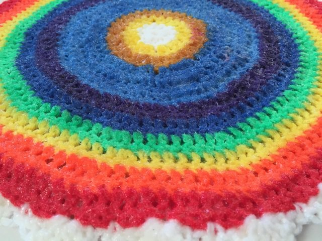 crochet rainbow mandala by linda for sammy