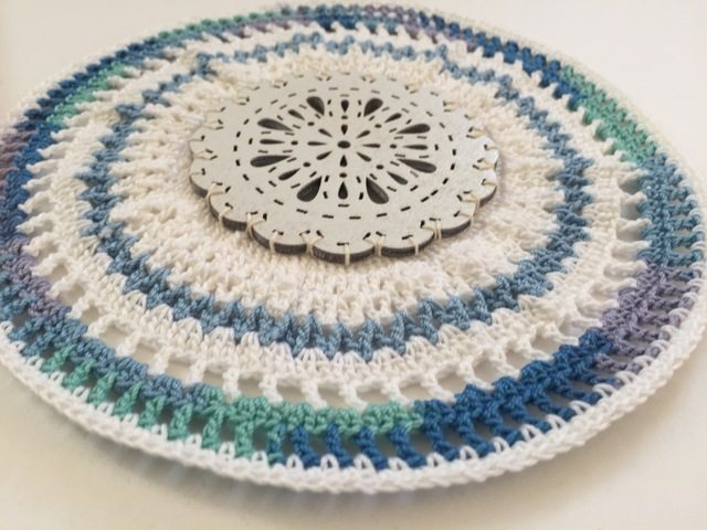 crochet wooden mandala by dianna