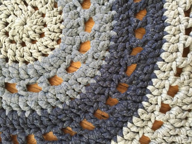 denim crochet mandala rug by anne