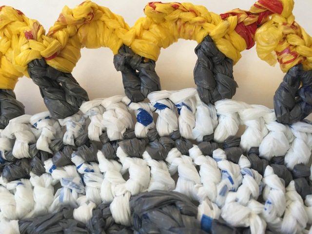 detail of plarn crochet mandala by acacia