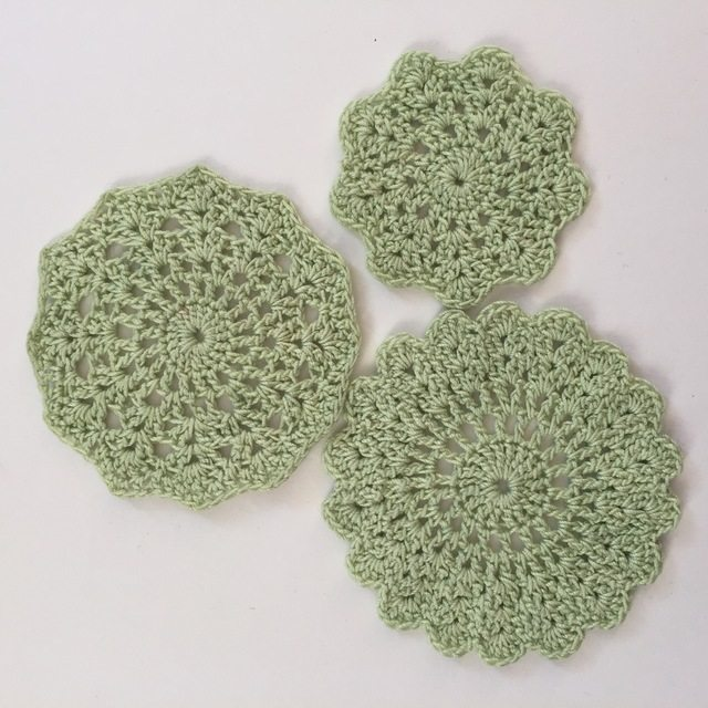 green crochet mandalas by dianna