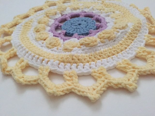 monika yellow crochet mandala