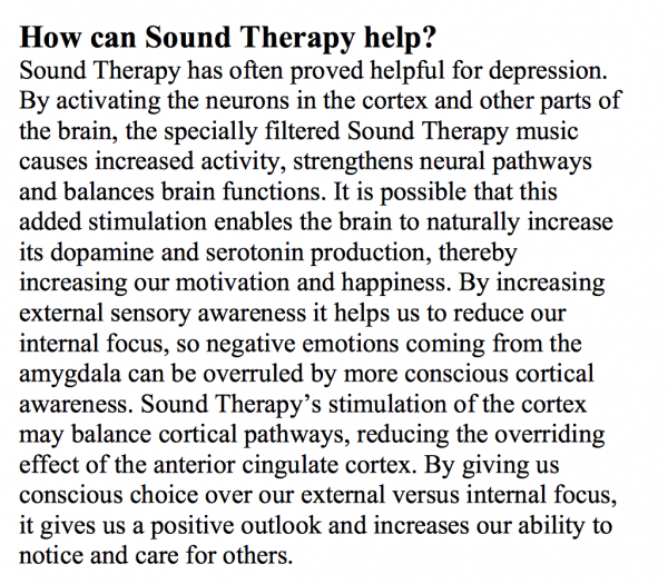 sound therapy for depression