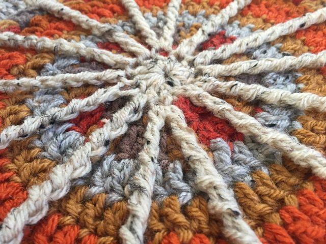 spoke detail of crochet mandala from margaret