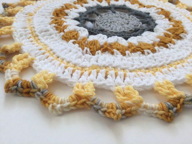 yellow crochet mandala for marinke