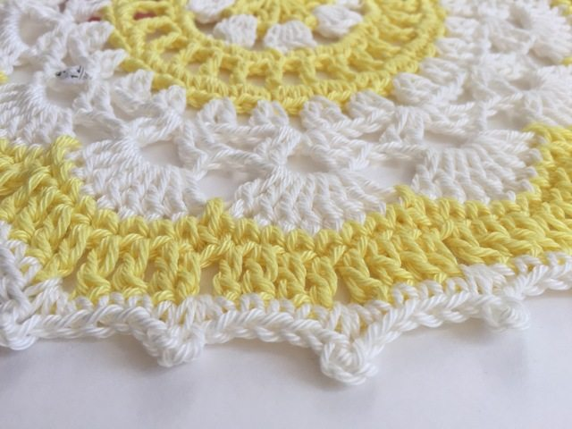 yellow crochet mandala from steph