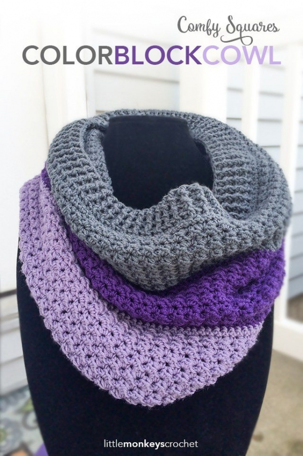 color block cowl crochet pattern