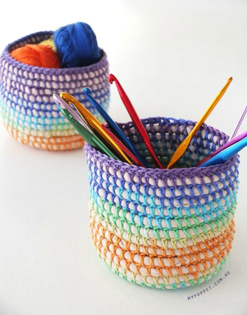 crochet and coil basket