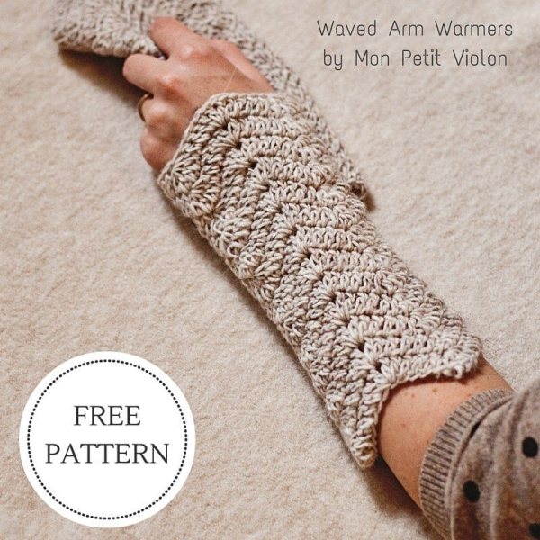 Chevron arm warmer free crochet pattern from Mon Petit Violon; the ...