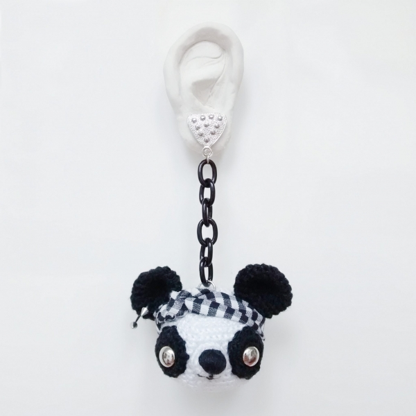 crochet bear earring by leandro dario